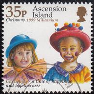 Ascension 1999 Used Sc #742 35p 2 Children As Clowns Christmas - Ascension (Ile De L')