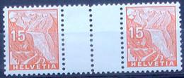 """Schweiz Suisse 1935: ZDR Glacier Du Rhône"""" Mit Steg Avec Pont Gutter-pair Zu S45 Mi WZ33C * Falz MLH (Zu CHF 32.00 -50%) - Inverted (tête-bêche)"""