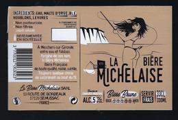 """étiquette Bière France: Biere Brune 5%  33cl La Biere Michelaise Semussac 17 """" Femme Maillot De Bain, Pèche à La Ligne"""" - Beer"""