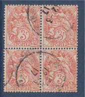 Bloc De 4 Timbres Type Blanc 3c Orange Oblitéré N°109 - 1900-29 Blanc