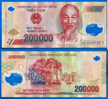 Vietnam 200000 Dong 2014 Prefixe XQ Que Prix + Port 200 000 Asie Asia Billet Polymere Paypal Bitcoin OK - Vietnam