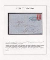 1861. PUERTO CABELLO TO LONDON RECEIVED IN EDINBURGH. 1d RED PERF 14. DUPLEX 2BO LONDON FE 14 61. ENTIRE SCARCE LETTER. - Venezuela