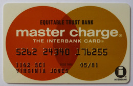 USA - Credit Card - Master Charge - Equitable Trust Bank - Exp 05/81 - Used - Credit Cards (Exp. Date Min. 10 Years)