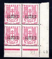 ALGÉRIE YT-N°: 225 - CHAÎNES BRISÉES, Coin Daté Du 21.02.1945, Galvano A De A+A, 2e Tirage, NSC/**/MNH - Unused Stamps
