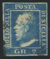 Sicily 1859 2gr Blue Plate II Used, RITOCCO 83 (upper Left Corner), Perfect Condition, Sassone 7/83, Cat. €600, Scarce - Sicily