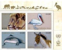 ONU Vienne 2020 - Endangered Species - Espèces En Danger - Gefährdete Arten ** (Lion, Pélican, Marsouin, Ane) - Blokken & Velletjes