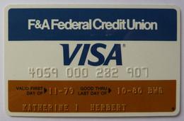 USA - Credit Card - VISA - F&A Federal Credit Union - Exp 10/80 - Used - Carte Di Credito (scadenza Min. 10 Anni)