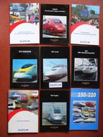 Lot 9 Plaquettes ALSTHOM SNCF TGV Eurostar Thalys Duplex Corée Espagne Pendulaire Locomotives électriques Ferroviaires - Chemin De Fer