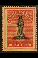 1867-70 1s Black And Rose-carmine On Greyish Paper, SG 14, Mint With Large Part Original Gum. For More Images, Please Vi - Iles Vièrges Britanniques