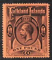 1912 £1 Black On Red, Geo V, SG 69, Very Fine Mint. For More Images, Please Visit Http://www.sandafayre.com/itemdetails. - Falkland Islands