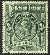 1921-28 3s. Slate-green, SG 80, Fine Cds Used. For More Images, Please Visit Http://www.sandafayre.com/itemdetails.aspx? - Falkland Islands