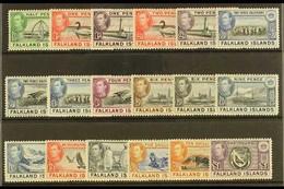 "1938-50 Complete ""Basic"" Definitive Mint, SG 146/63, Lightly Hinged Very Fine Mint (18 Stamps) For More Images, Please V - Falkland Islands"