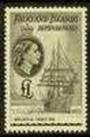 """1954-62 £1 Black """"Belgica"""" SG G40, Never Hinged Mint For More Images, Please Visit Http://www.sandafayre.com/itemdetails - Falkland Islands"""