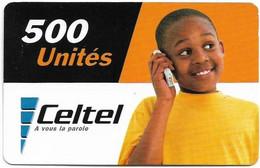 Congo Republic (Kinshasa) - Celtel - Young Boy At Phone - Exp. 31.12.2003, GSM Refill 500Units, Used - Congo