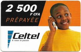 Congo Republic (Brazzaville) Celtel - Young Boy At Phone - Exp. 05.2004, GSM Refill 2.500FCFA, Used - Congo