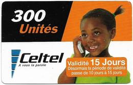 Congo Republic (Kinshasa) - Celtel - Young Girl At Phone - Exp. 31.12.2004, GSM Refill 300Units, Used - Congo