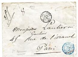 Env De Paris (bureau F) Pour La Ville Cachet De Taxe 15 C Annulé Et Taxe De 8 Décimes Pour Un Poids De 35 G TB - 1849-1876: Classic Period
