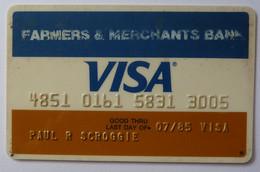 USA - Credit Card - VISA - Farmers & Merchants Bank - Exp 07/85 - Used - Carte Di Credito (scadenza Min. 10 Anni)