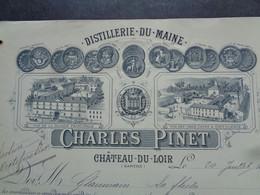 FACTURE - 72 - DEPARTEMENT DE LA SARTHE - CHATEAU DU LOIR 1892 - DISTILLERIE DU MAINE : CHARLES PINET - Unclassified