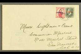 "1919 Plain Cover To USA, Sent 2½d Rate, Franked 1d & KGV 1½d Slate, SG 116, 135, Apia 12.05.19 Postmark, Censor ""3"" Cach - Samoa"
