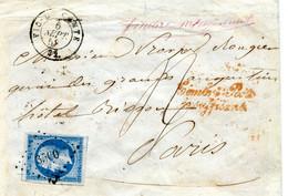 Env De Vic Le Comte Pour Paris  Affranchissement Insuffisant Taxe De 4 Décimes Yv 14 Grandes Marges  6 Sept 1858 TB - 1849-1876: Classic Period
