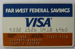USA - Credit Card - VISA - Far West Federal Savings - Exp 12/83 - Used - Carte Di Credito (scadenza Min. 10 Anni)