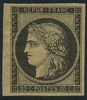 Neuf Avec Charnière N° 3F, 20c Noir Réimpression, Bdf T.B. - Sin Clasificación