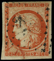 Oblitéré N° 5, 40c Orange, T.B. Signé Brun - Sin Clasificación
