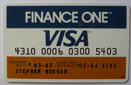 USA - Credit Card - VISA - Finance One - Exp 02/84 - Used - Carte Di Credito (scadenza Min. 10 Anni)