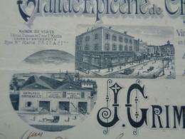 FACTURETTE - 72 - DEPARTEMENT DE LA SARTHE - LE MANS 1900 - GRANDE EPICERIE DE CHOIX : J. GRIMAULT - Unclassified