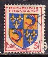FRANCE FRANCIA 1953 ARMOIRIES STEMMI COAT OF ARMS DAUPHINE 3fr OBLITERE' USED USATO - Usati