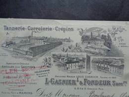 FACTURE - 72 - DEPARTEMENT DE LA SARTHE - BONNETABLE  1919 - TANNERIE, CORROIRERIE, CREPINS : L. GASNIER & FONDEUR - Unclassified