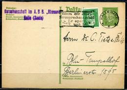 """German Empires 1929 GS Hindenburg Mi.Nr.P180 Mit Zusatzfrankatur U.Telekom MWST""""Halle/S.-Nimm Dir Einen Fernspech.""""1 GS - Telecom"""