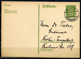 """German Empires 1929 Ortspost GS Hindenburg Mi.Nr.P180 Mit Klaren Tstp.""""Berlin Wannsee 1,-12.6.29.""""1 GS - Stamped Stationery"""
