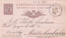 ITALIA - REGNO - ARGENTA (FERRARA) - INTERO POSTALE - CON RISPOSTA PAGATA C. 15 - VIAGGIATA PER MASSA LOMBARDA (RA) - Interi Postali