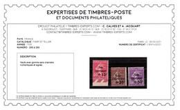 Signé CALVES + Certificat - YV 266 à 268 N** , 4eme Caisse D'Amortissement Cote 420+ Euros - Ungebraucht