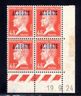 ALGÉRIE YT-N°: 22 - PASTEUR, Coin Daté Du 19.09.1924, Galvano B De A+B, 1er Tirage, Voir Scans & Description - Nuevos