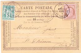 Ceres N°54 Et Sage N°64 Sur Precursseur Sept 1876 Lyon Les Terreaux - Vorläufer