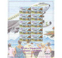 Polynesia 2021 Polynesie 60 Ann AIRPORT Aeroport Tahiti Faa'a Avion 10v Mnh FULL - Ongebruikt