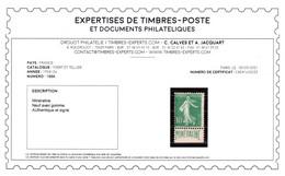 YV 188A N* (légère Et Propre) , Signé CALVES + Certificat , Semeuse Mineraline Très Fraiche Cote 500+ Euros - Ungebraucht