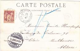 Sage 2c Sur Carte Paris Hotel De Ville 1897 CAD Rue De Strasbourg Pour Mulhouse - 1877-1920: Semi-Moderne