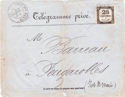 Taxe 25c Non Dentelé Type 1 Défaut Télégramme Privé Port Sainte Marie Type 17 9 Avril 1876 Lot Et Garonne - 1859-1955 Briefe & Dokumente