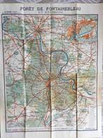 Carte Topog. Taride Forêt De Fontainebleau Et Envir. 1/57 000° Années 30 (?) + Vernon, Thomery, Melun, Machault, Episyi - Topographical Maps