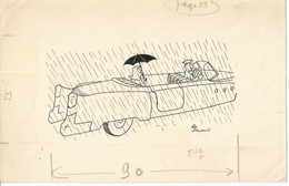 F16 / Dessin Original BD Humour Dessin De PRESSE 1970 Signé JAUCOURT Voiture Chauffeur Pluie Parapluie - Dibujos