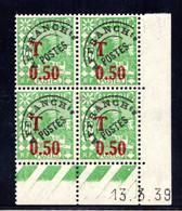 ALGÉRIE YT-N°: T 28 - MOSQUÉE, Coin Daté Du 13.03.1939, Galvano B De A+B, 1er Tirage, NSC/**/MNH - Postage Due
