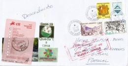 Lettre D'Andorre Envoyée à Estoril (Portugal) Pendant Covid-19 Lockdown, Return To Sender, Avec Vignette Prévention - Covers & Documents