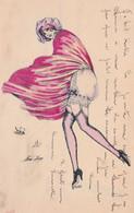 CPA Aquarellée Peinte à La Main Parisienne Femme Lady Glamour Pluie Et Vent Illustrateur X. SAGER Série N° 58  2 Scans - Sager, Xavier