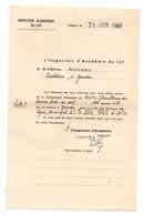 Papier De L'inspection Académique Du Lotpour Commission D'examen Du B.E.P.C à Gourdon En 1963 - Format : 13.5x21 Cm - Diplômes & Bulletins Scolaires