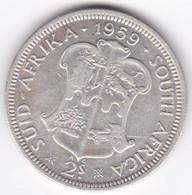 South Africa 2 Shillings 1959 Elizabeth II, En Argent , KM# 50 - South Africa
