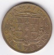 Jamaïque 1 Penny 1963 Elizabhet II , En Laiton De Nickel , KM# 37 - Jamaica